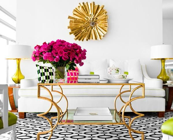 decoracion mid century dorado moderno