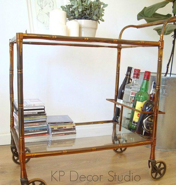comprar-carrito-con-ruedas-minibar-antiguo-dorado-tipo-falso-bambu