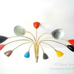 Lámpara de techo araña de latón y focos de colores marca stilnovo, italia, años 50. decoración midcentury