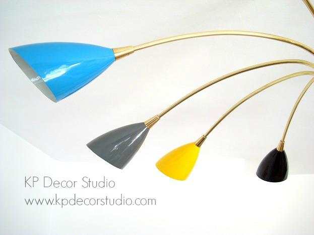 Lámpara araña vintage diseño stilnovo italia latón