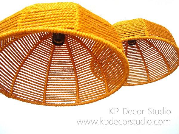 Pareja de lamparas de techo danesas de cuerdas y cable trenzado