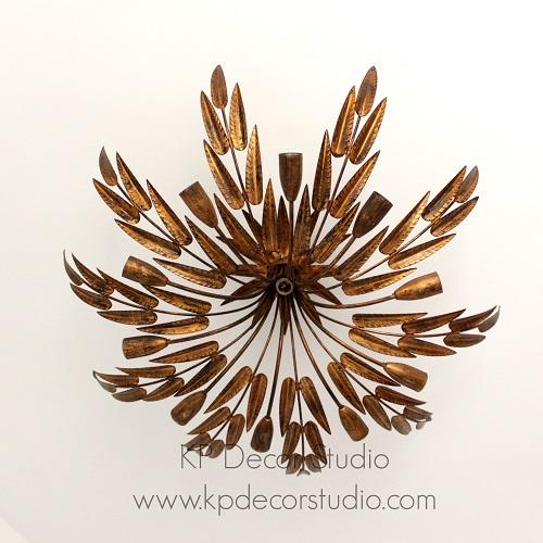 Lámpara de techo hojas doradas vintage ferroart