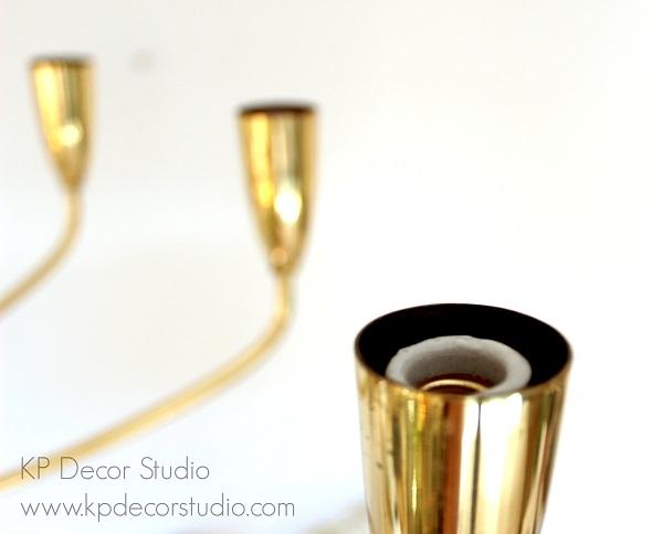 Lámpara para salón vintage dorada de latón