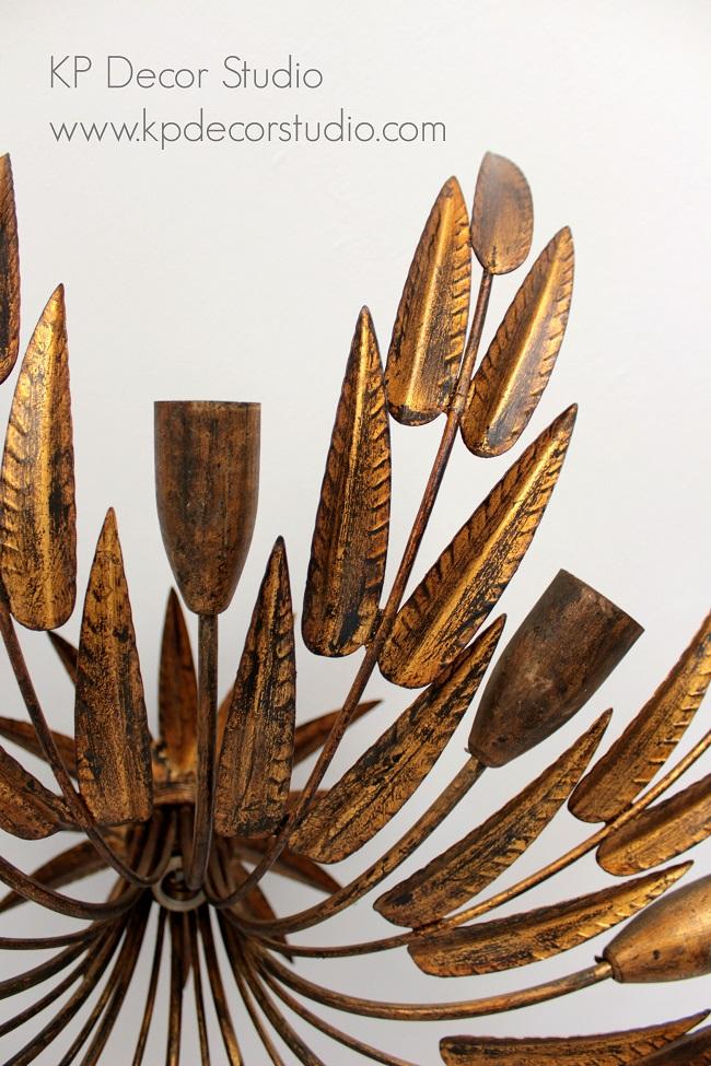 lampara de techo vintage con hojas y ramas doradas