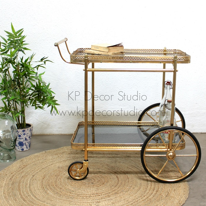 Camarera vintage dorada carrito minibar antiguo mueble - Carrito camarera ...