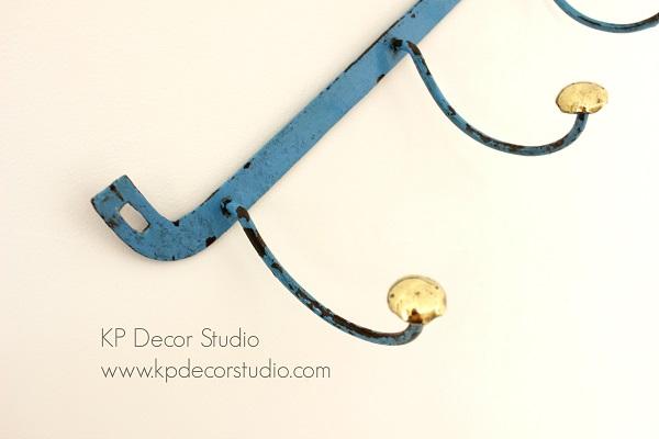 Perchero vintage rustico metal forjado hecho a mano