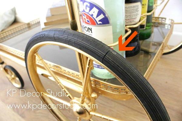 mueble bar dorado carrito con ruedas