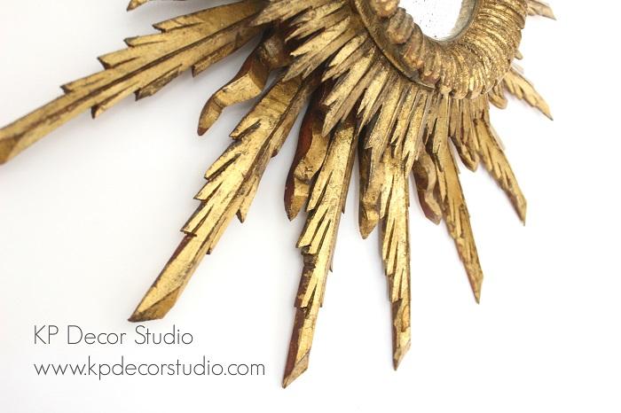 Espejo de madera oro vintage