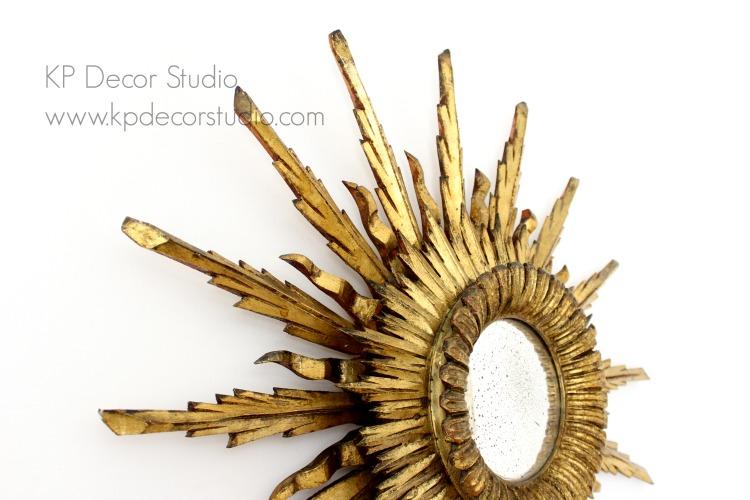 Espejo sol antiguo dorado en buen estado