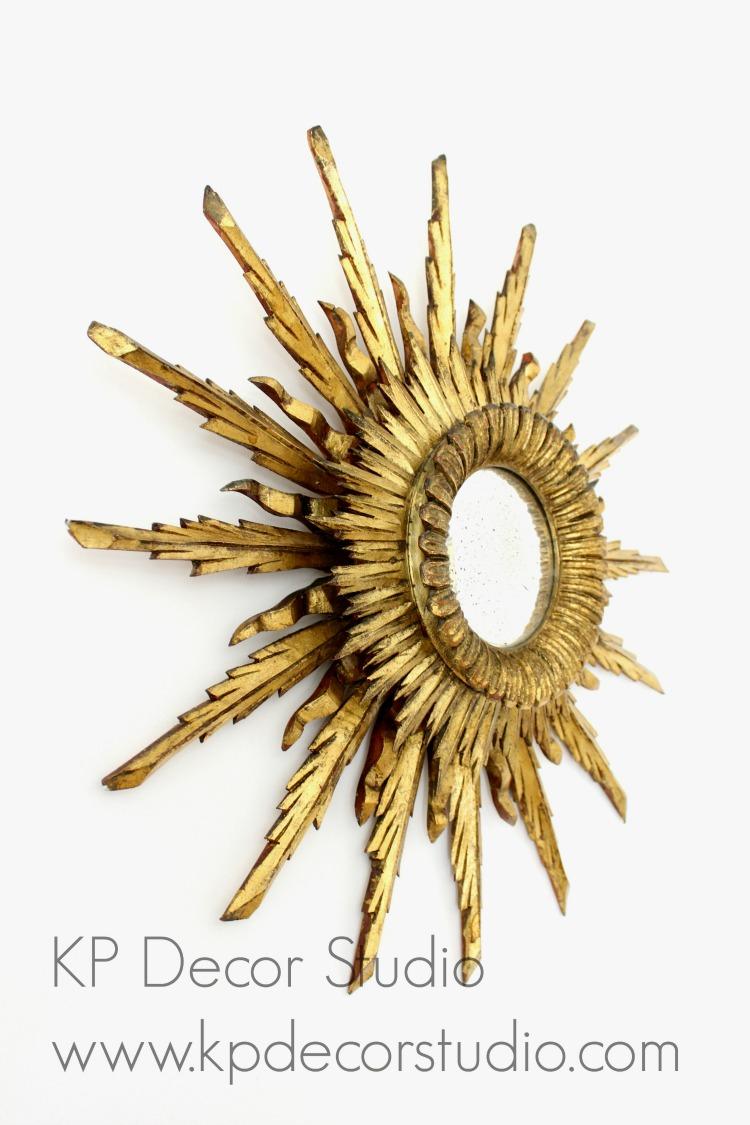 Espejo sol de madera convexo