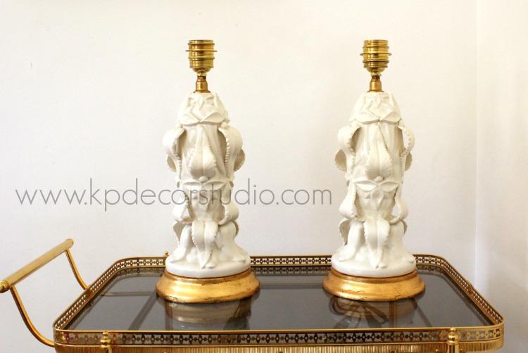 Lámparas de cerámica vintage años 50.