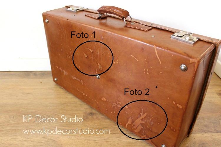 detalles maleta de piel antigua
