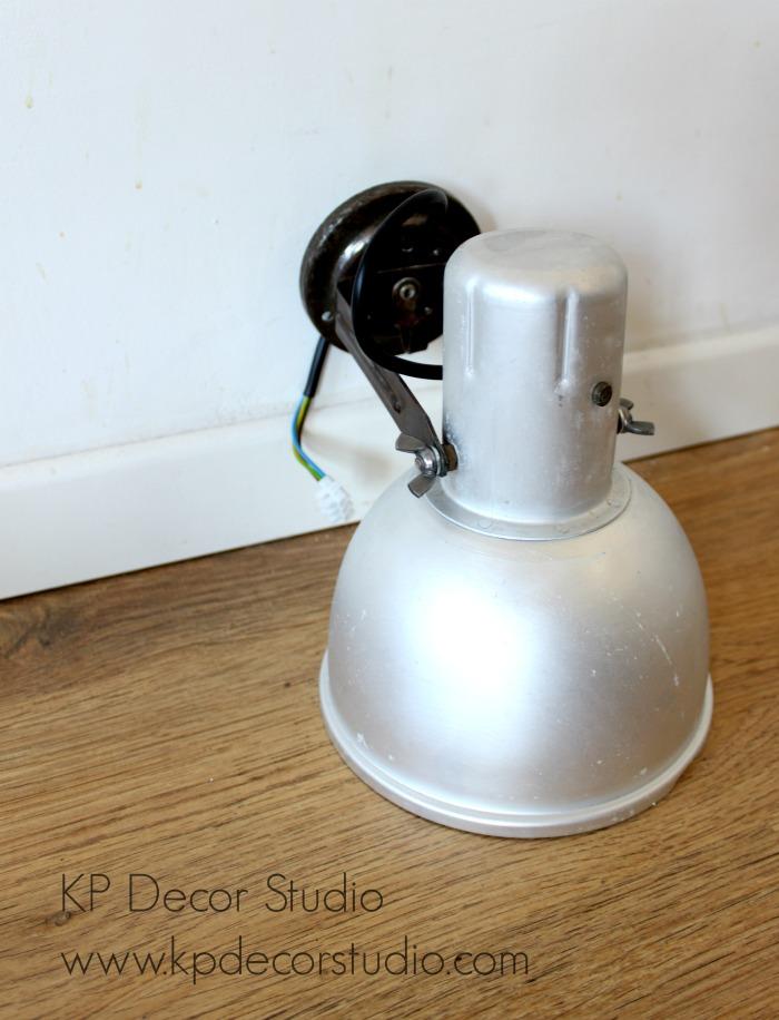 Aplique lampara foco industrial aluminio vintage