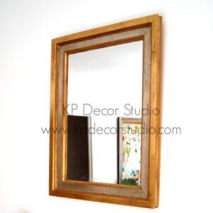 Espejo rectangular marco de madera dorado