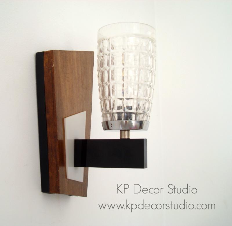 Aplique vintage denés madera y cristal años 50