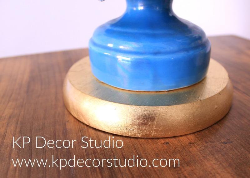Lámpara ceramica manises azul pan de oro