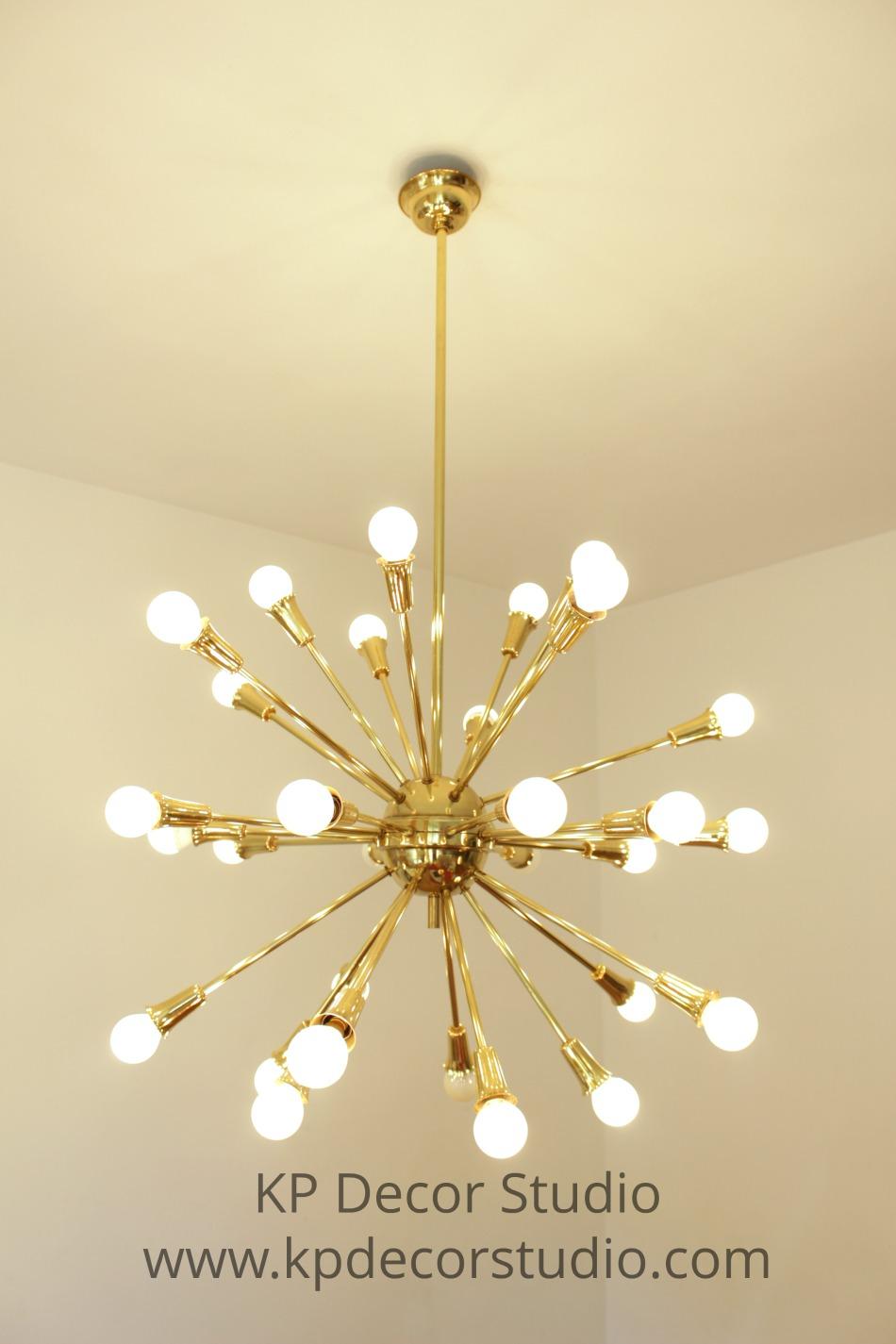 Brass sputnik chandelier by stilnovo