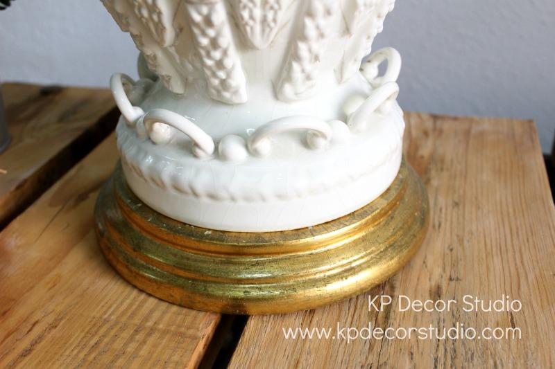 Lámpara manises ceramica pan dorado