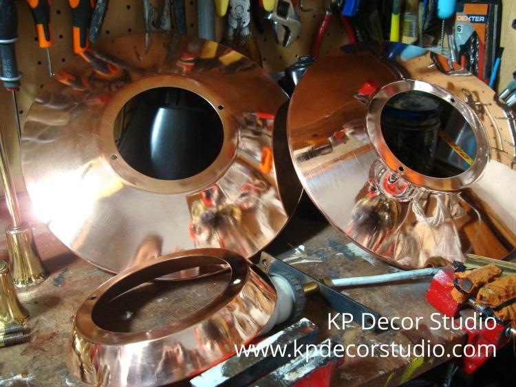 Lámparas cobre restauradas