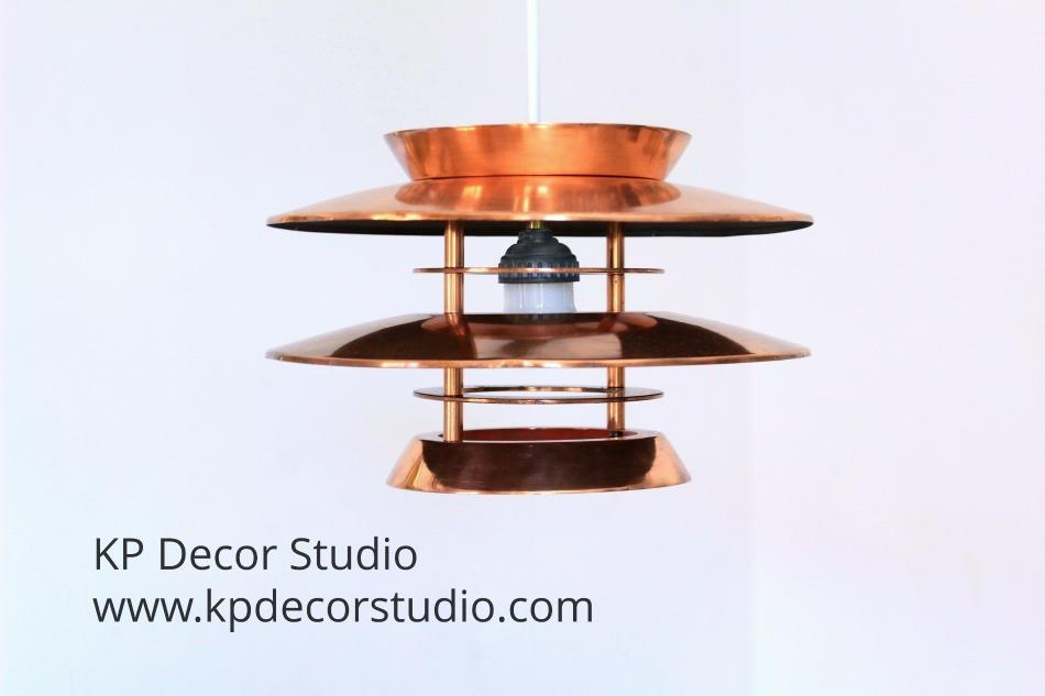 Lampara colgante de cobre vintage del diseñador hans agne jakobsson